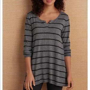 Soft Surroundings | Cozy Cafe Top in Charcoal sz M